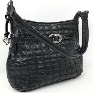 Brighton Quilted Black Pebbled Leather Handbag